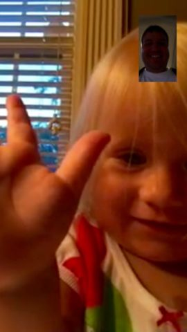 Rilianne waving to me during a FaceTime